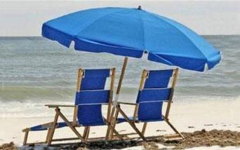 Beach Gear resort chairs and umbrella