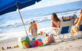 Beach Gear chairs umbrella and toys