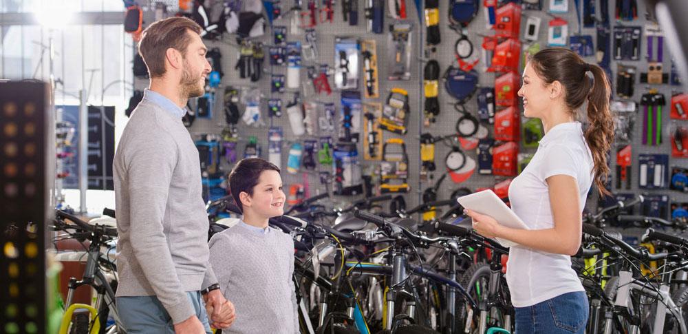 Bike shop helping customers
